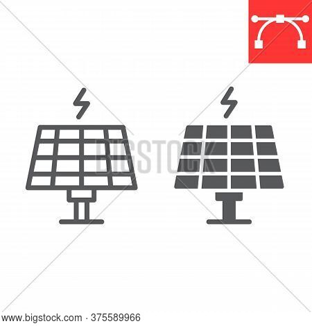 Solar Panel Line And Glyph Icon, Energy And Ecology, Sun Solar Panel Sign Vector Graphics, Editable