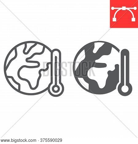 Global Warming Line And Glyph Icon, Nature And Ecology, Planet With Thermometer Sign Vector Graphics
