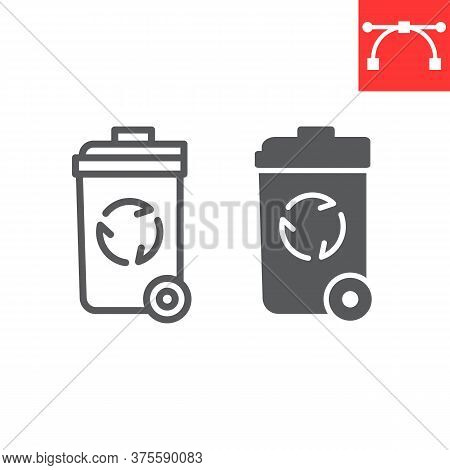 Recycle Bin Line And Glyph Icon, Garbage And Ecology, Trash Bin Sign Vector Graphics, Editable Strok