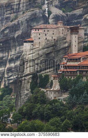 Rusanu Monastery Or St. Barbara. Meteora Monastery In Greece.