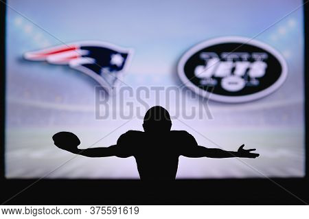New England Patriots Vs. New York Jets. Nfl Game. American Football League Match. Silhouette Of Prof