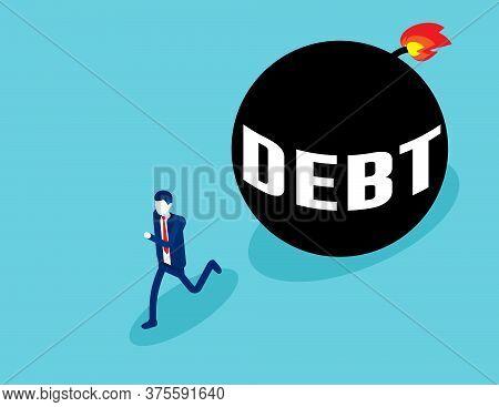 Businessman Run Away From Debt. Business Debt Ball
