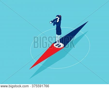 Businesswoman Standing On Pointer And Exploring Direction. Looking Through Telescope