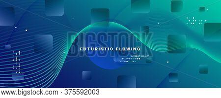 Blue Dynamic Wave. Fluid 3d Stripes. Curve Geometric Shapes. Dynamic Wave. Wavy Poster. Flow Liquid.