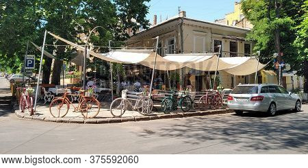 Odessa, Ukraine - June 16, 2019: This Is An Unusual Temporary Summer Outdoor Cafe Street On One Of T