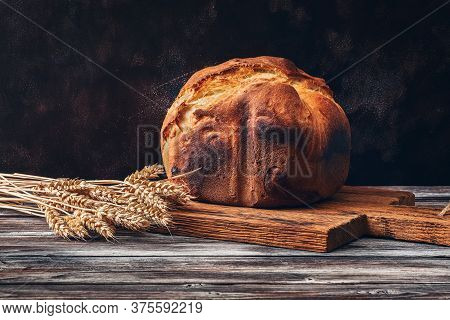 Fresh Homemade Bread With A Crispy Crust On A Wooden Rustic Table With Ripe Wheat Ears. Selective Fo