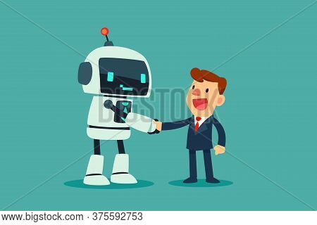 Successful Businessman Shaking Hand With A Robot With Artificial Intelligence. Artificial Intelligen