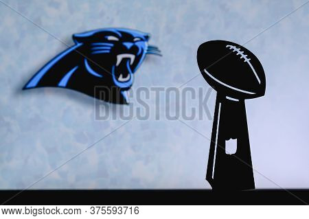 Carolina Panthers Professional American Football Club, Silhouette Of Nfl Trophy, Logo Of The Club In
