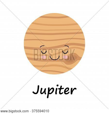 Cartoon Cute Sleeping Jupiter Planet Isolated On White Background. Planet Of Solar System. Cartoon S