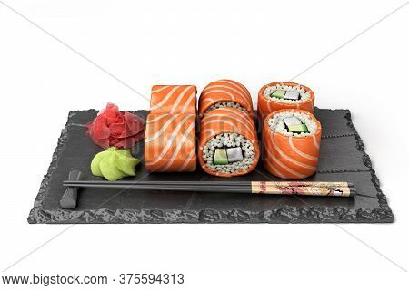 Showcase Product Presentation Rolls Set On A Black Stone Plate 3d Render On White