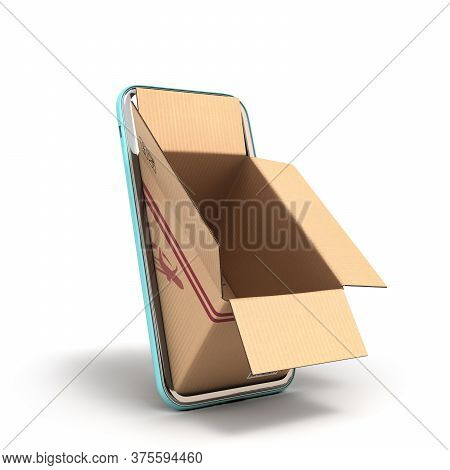 Fast Delivery Concept Empty Oprn Box Peep Out Of The Screen Of A Mobile Phone 3d Render On White