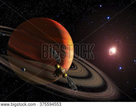 Spaceship On Orbit Of The Saturn Planet. Exploration Of The Space. Sci-fi Wallpaper. Elements Of Thi