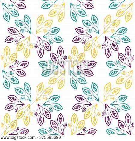 Vector Gold, Blue, Purple Outline Leaves Seamless Pattern Background. Clusters Of Line Art Foliage O