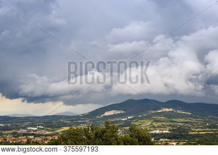 Green Valley Nature Landscape. Mountain Layers Landscape. Rainy Day In Mountain Landscape. Valley An