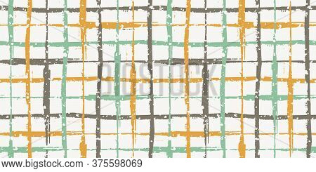 Retro Color Grunge Line Vector Seamless Grid Border With Flecked Snowflake Texture. Hand Drawn Brush