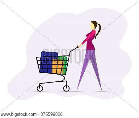 Stylish Proud Girl Goes With Empty Supermarket Shopping Cart, Flat Design