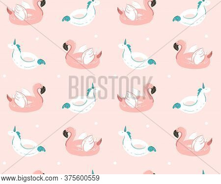 Hand Drawn Vector Abstract Summer Time Fun Seamless Pattern With Pink Flamingo Float And Unicorn Swi