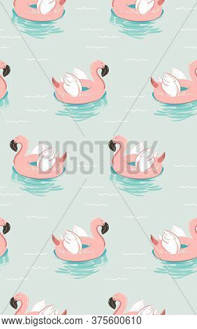 Hand Drawn Vector Abstract Summer Time Fun Seamless Pattern With Pink Flamingo Float Swimming Pool B