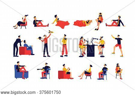 Leisure Activity People Flat Color Vector Faceless Character Set. Entertainment And E Learning. Past