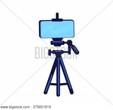 Phone On Tripod Flat Color Vector Object. Setup For Photography. Device For Recording. Electrical Eq