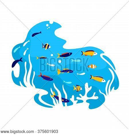 Tropical Fish 2d Vector Web Banner, Poster. Aquarium Creatures. Salt Water Ecosystem. Underwater Fla