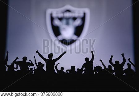 Las Vegas Raiders. Fans Support Professional Team Of American National Foorball League. Silhouette O