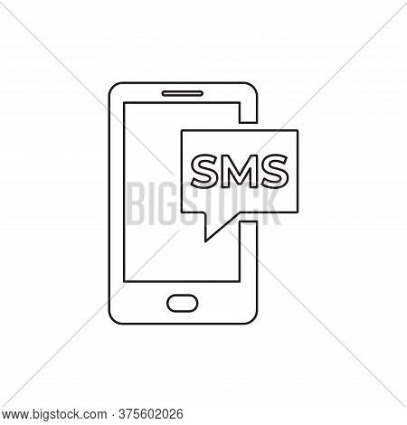 Smartphone Sms Icon Isolated On White Background. Smartphone Sms Icon In Trendy Design Style For Web