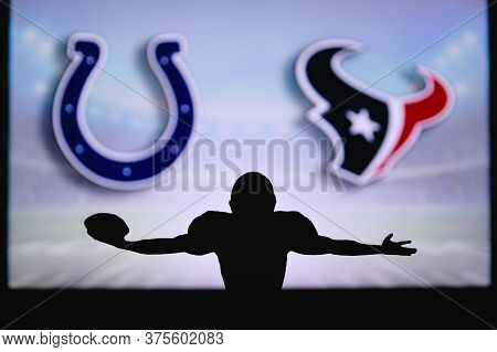 Indianapolis Colts Vs. Houston Texans. Nfl Game. American Football League Match. Silhouette Of Profe