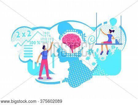Creative And Technical Aspects Of Personality Flat Concept Vector Illustration. Thinking Skills Type