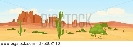 Western Dry Desert At Day Time Flat Color Vector Illustration. Wasteland Travel Destination. Wildern
