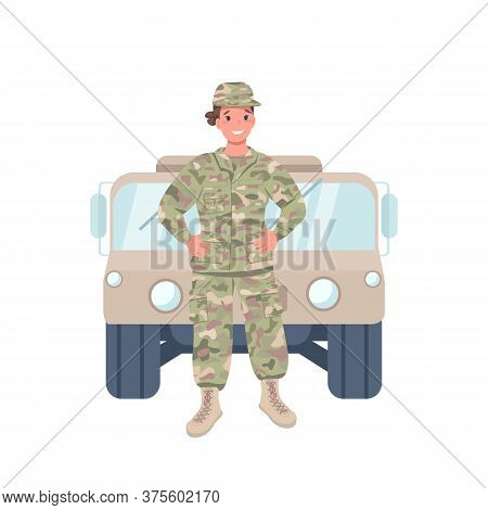 Woman Soldier Flat Color Vector Detailed Character. Cheerful Female Working In Armed Forces. Gender