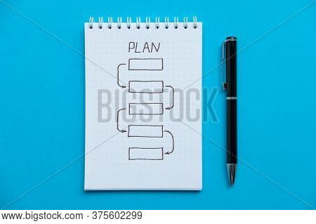 Notepad With A Step-by-step Action Plan And Pen. Notebook With The Schedule Shoot From The Top. Spir
