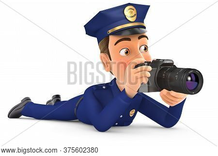 3d Policeman Lying Down With Camera, Illustration With Isolated White Background