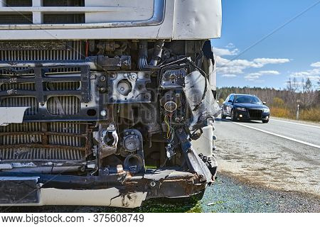 Car Accident: Truck After Collision With Van