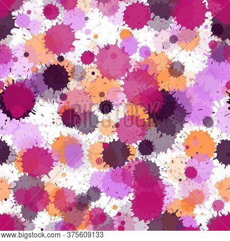 Graffiti Spray Transparent Stains Vector Seamless Grunge Background. Cool Ink Splatter, Spray Blots,