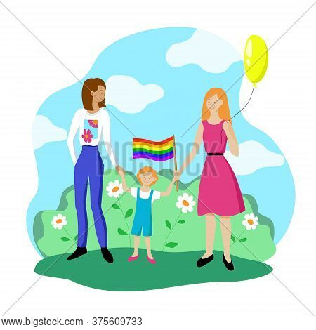 Lesbian Couple With A Child Are Walking With A Rainbow Flag. Gay Parade In Support Of The Lgbt Commu