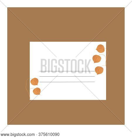 A postcard with orange physalis fruit and green leaves on a brown and white background with lines for inscriptions.