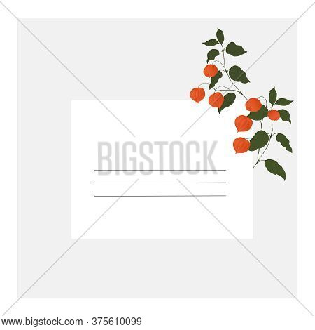 Card With Orange Physalis Fruit And Green Leaves On A Blue And White Background With Lines For Inscr