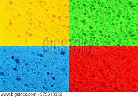 Bright Multi-colored Background Made Up Of Kitchen Washcloths Closeup