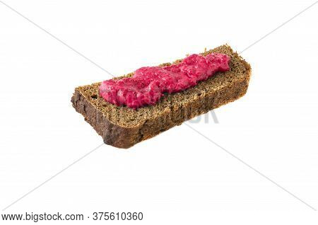 Piece Of Gray Bread With Red Horseradish On A White Background. Small Piece Of Rye Bread With Spicy