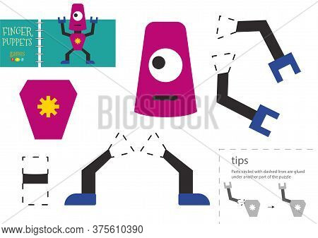 Cut And Glue Paper Vector Toy. Cute Robot Character As A Cardboard Cutout Model
