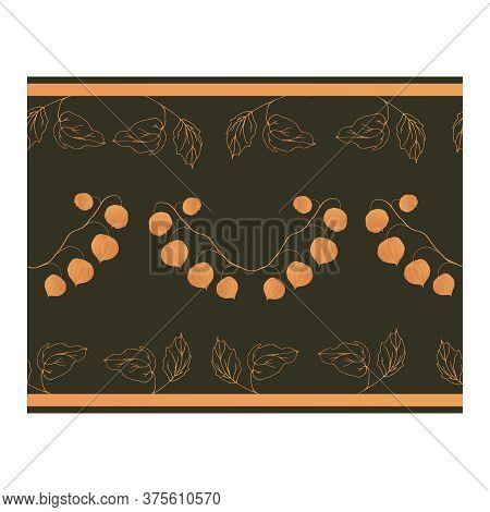 Seamless border with physalis flowers on curved branches and light orange leaf outlines on a brown background.