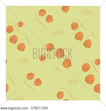 Seamless Pattern With Yellow Physalis Flowers On Branches And Leaf Outlines On A Beige Background.