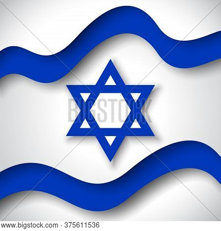 Israel Flag Background. Business Booklet. Colored Wavy Ribbons Colors Flag Of Israel. National Poste