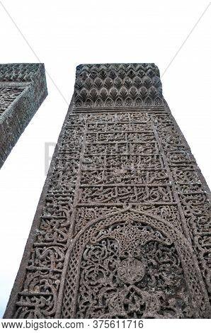 Bitlis, Turkey - 21 May 2011: Ahlat Seljukian Cemetery. Seljuk Period Tombstones.