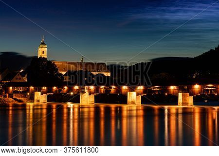 Bad Saeckingen, Bw / Germany - 4 July 2020:  View Of The St. Fridolin Cathedral And Rhine Bridge In