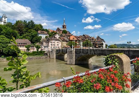 The Historic Rhine Bridge And Old Town Of Laufenburg In Southern Germany