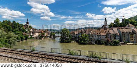 Panorama View Of The Idyllic Border Town Of Laufenburg On The Rhine In Northern Switzerland