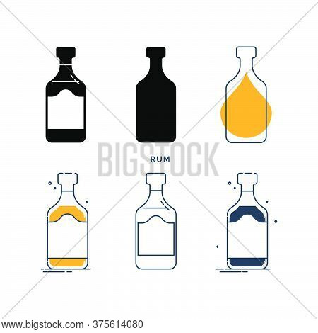 Set Of Bottles With Rum In Different Styles. Template Alcohol Beverage For Restaurant, Bar, Pub. Sym