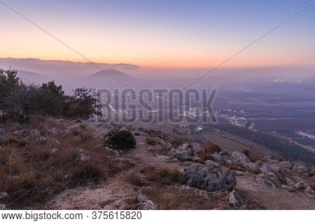 Morning View At Morning Sunrice From Mount Precipice On A Nearby Valley Near Nazareth In Israel